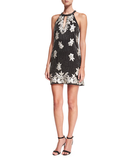 Parker Black Sansa Beaded Floral-Embroidered Cocktail Dress