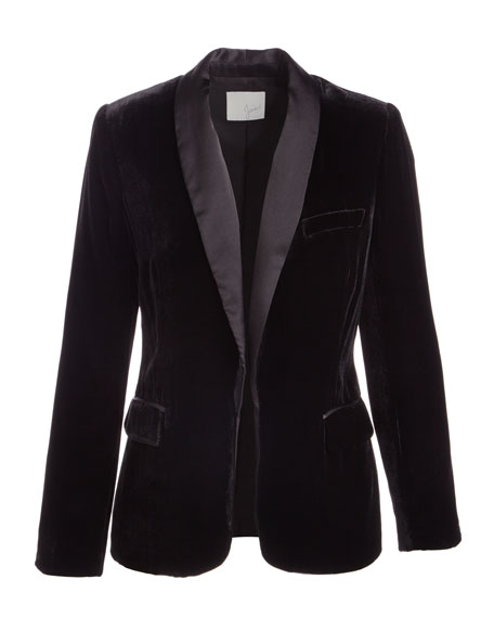 Image 3 of 3: Mehira B Tailored Velvet Blazer
