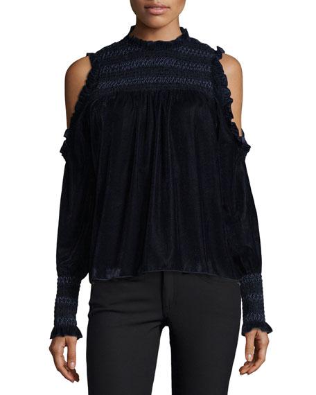 Joie Aneisha Mock-Neck Cold-Shoulder Velvet Top