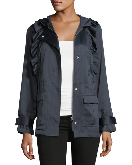 Joie Ramius Zip-Front Hooded Satin Jacket