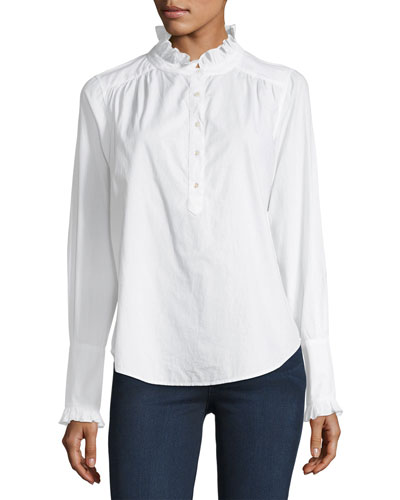 Reka Long-Sleeve Partial-Button Poplin Top