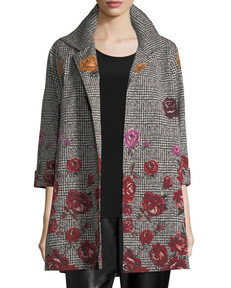 Rose Plaid Jacquard Party Jacket, Plus Size