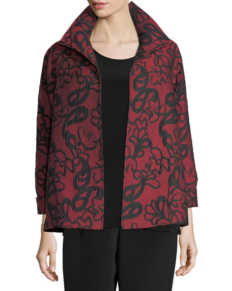 Caroline Rose Paisley Cloque A-line Jacket, Plus Size