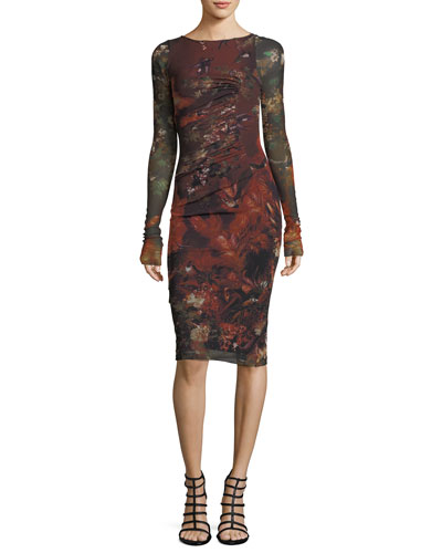 Long-Sleeve Ruched Floral-Print Tulle Dress