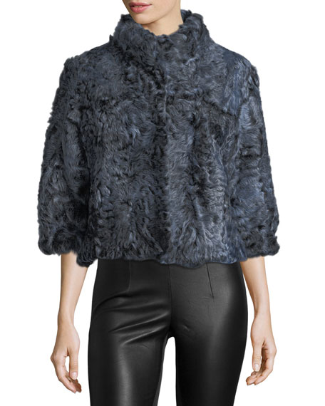Belle Fare Cropped Kalgan Lamb Fur Jacket