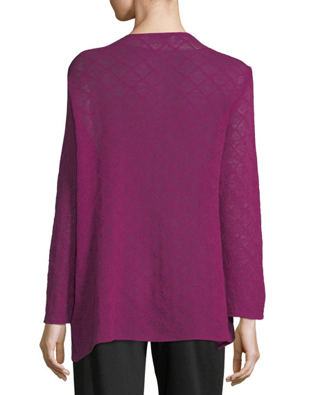 Diamond-Weave Wool Cardigan, Plus Size