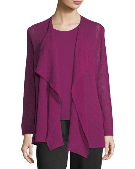 Caroline Rose Diamond-Weave Wool Cardigan, Plus Size