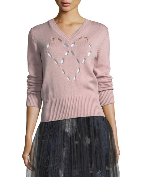 Fuzzi Merino Heart Cutout Sweater