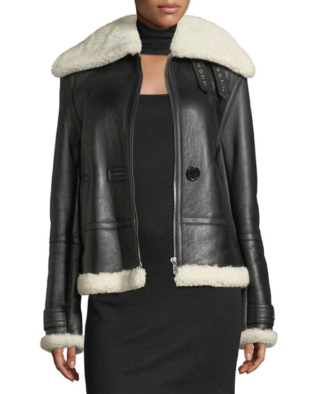 Helmut Lang Aviator Zip-Front Shearling/Leather Jacket and