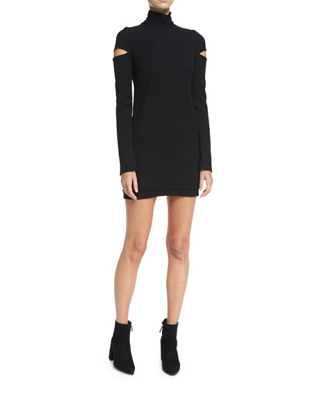 Turtleneck Slit Long-Sleeve Mini Sweater Dress