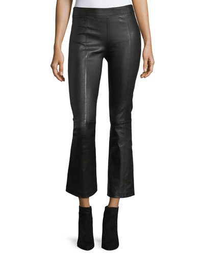 Leather Mid-Rise Crop Flare Pants