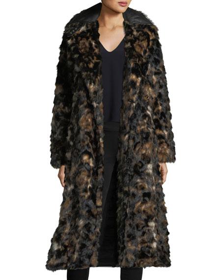 Tortoise Faux-Fur Shawl-Collar Belted Coat w/ Faux-Leather Trim