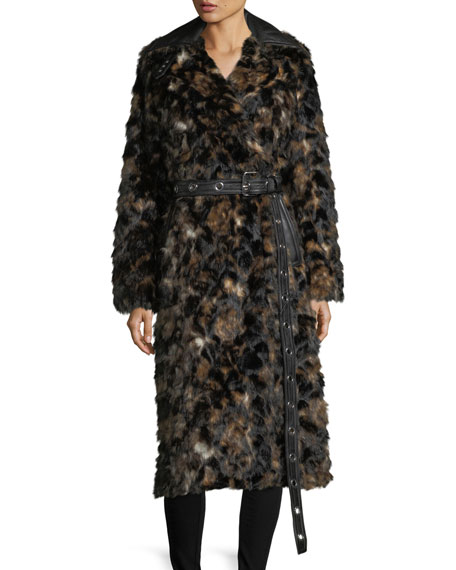 Helmut Lang Tortoise Faux-Fur Shawl-Collar Belted Coat w/