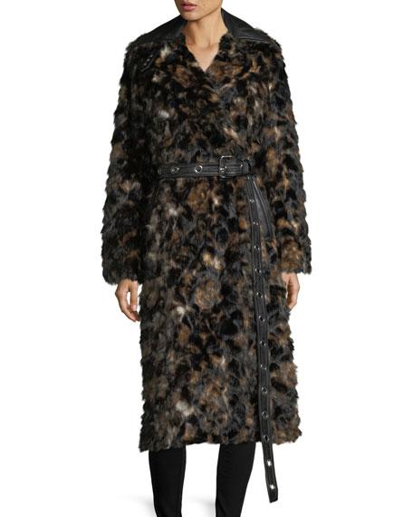 Helmut Lang Tortoise Faux-Fur Shawl-Collar Belted Coat w/