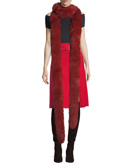 Helmut Lang Faux-Fur Long Stole Scarf and Matching