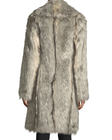 Faux-Wolf Long-Sleeve Shawl-Collar Coat