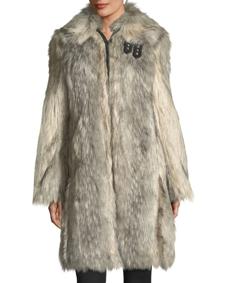Helmut Lang Faux-Wolf Long-Sleeve Shawl-Collar Coat