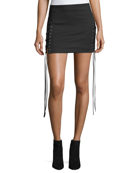 Helmut Lang Corset Lace-Up A-Line Mini skirt and