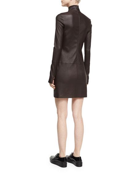 Turtleneck Long-Sleeve Paneled Leather Dress