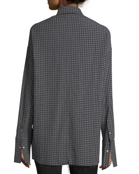 Check Point-Collar Button-Front Oversized Shirt