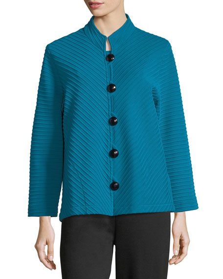 Wool Ottoman Knit Jacket, Plus Size