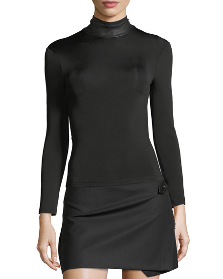 Bondage Leather Neck Long-Sleeve Stretch Top