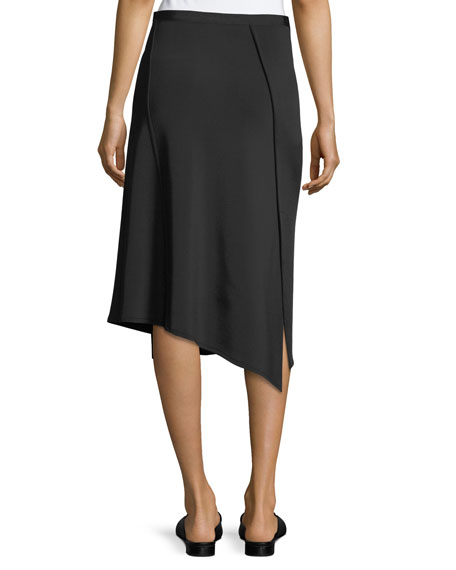 Staggered Seam Asymmetric A-Line Crepe Skirt