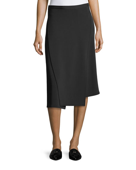 Helmut Lang Staggered Seam Asymmetric A-Line Crepe Skirt