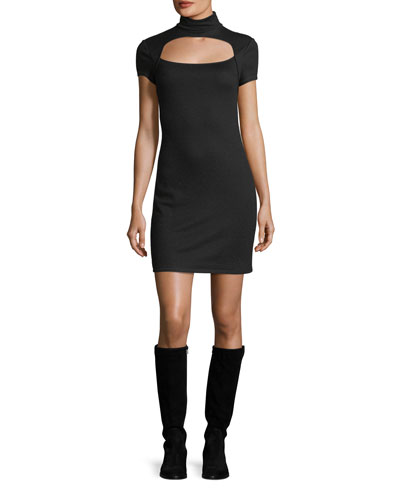 Turtleneck Cutout Short-Sleeve Wool Mini Dress