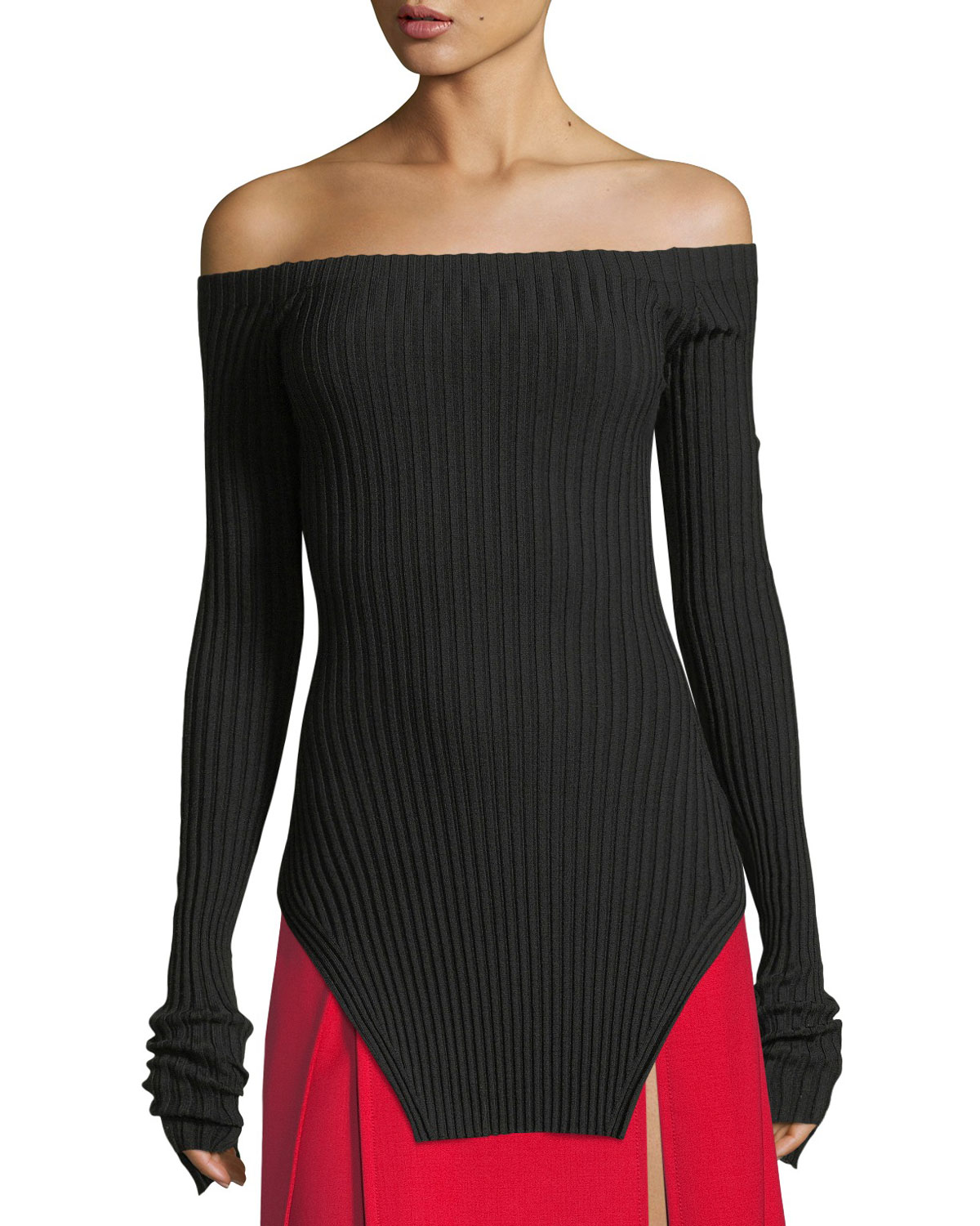8948863780 Helmut Lang Off-the-Shoulder Silk Rib-Knit Pullover Sweater