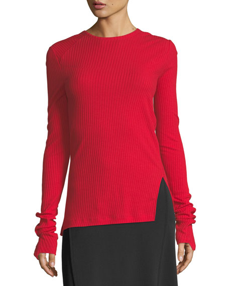 Helmut Lang Deconstructed Long-Sleeve Ribbed-Knit Sweater