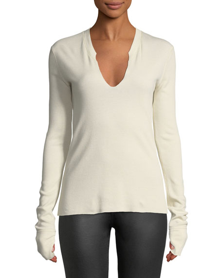Split-Neck Long-Sleeve Cotton Thermal Top