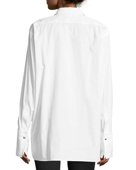 Oversized Long-Sleeve Button-front Poplin Shirt