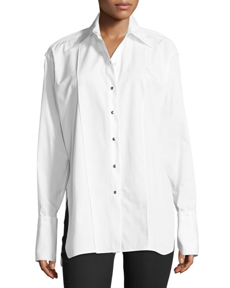 Helmut Lang Oversized Long-Sleeve Button-front Poplin Shirt