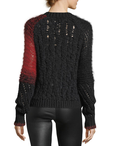 Patchwork Cable-Knit Crewneck Wool Sweater
