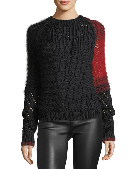 Helmut Lang Patchwork Cable-Knit Crewneck Wool Sweater and