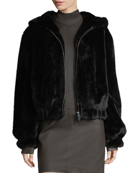 Helmut Lang Hooded Faux-Fur Bomber Jacket and Matching