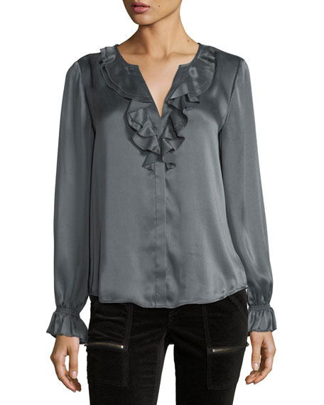 Joie Jayanne B Long-Sleeve Satin Top