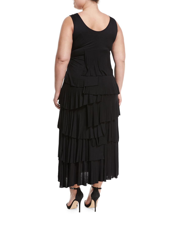 Chelsea Theodore Plus Ruffled Maxi Dress Black Plus Size