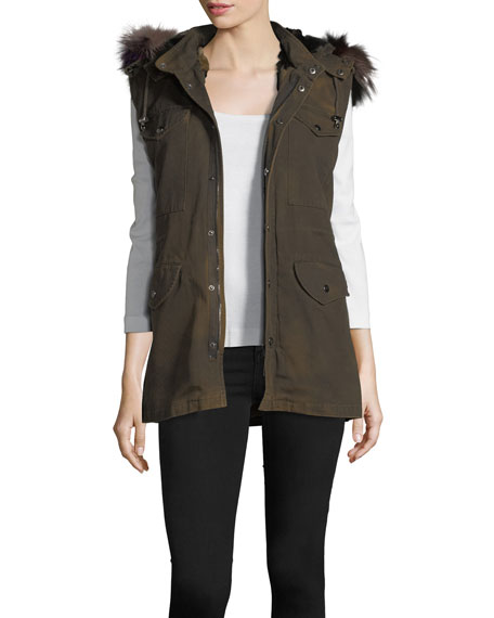 Canvas Cargo Vest w/Fur Trim