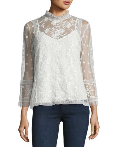 Jaelin High-Neck Semisheer Lace Blouse