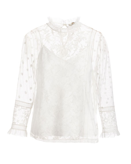 Jaelin High-Neck Semisheer Lace Blouse