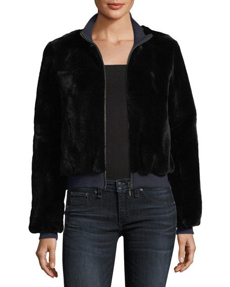 Belle Fare Zip-Front Rabbit Fur Jacket