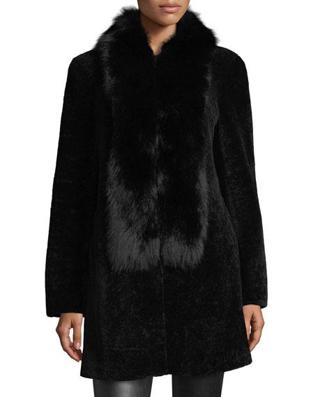 Belle Fare Shearling Coat w/Fox Fur Trim