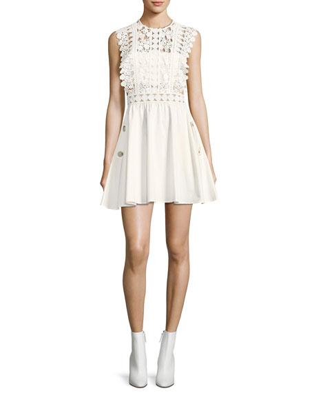 Self-Portrait Floral-Vine Lace Poplin Mini Dress