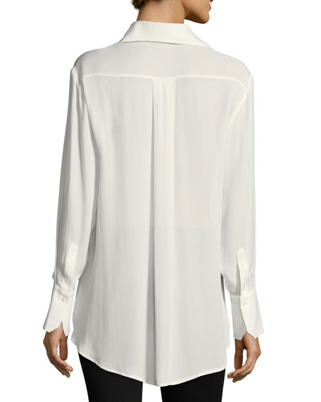 Clemence Button-Front Long-Sleeve Silk Blouse