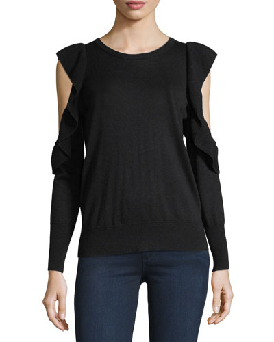 Lucasta Crewneck Cold-Shoulder Sweater
