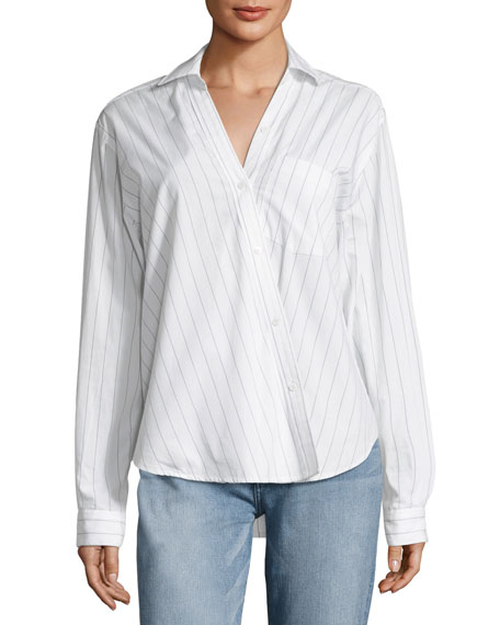 First Born Asymmetric Button-Front Striped Shirt