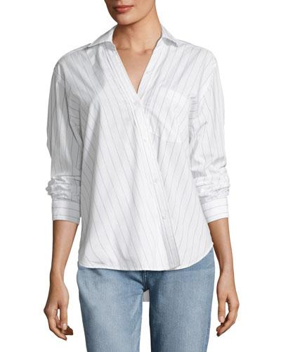 First Born Asymmetric Button-Front Striped Shirt