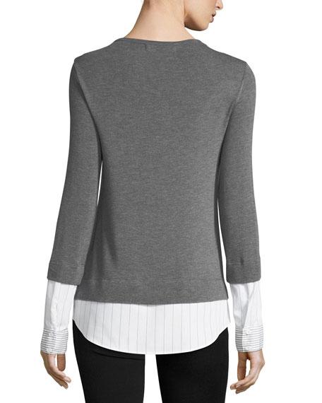 Elizabeth III Long-Sleeve Combo Sweater